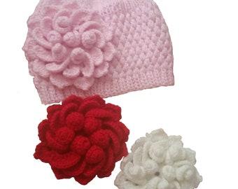 Baby Girl Hat Beanie, Pink Baby Beanie Hat, Knit Baby Beanie Hat, Hand Knit Flower Beanie, Pink Baby Flower Hat, Baby Girl Crochet Hat,