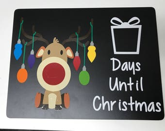 Rudolph Reindeer Countdown to Christmas Chalkboard - Christmas Chalkboard - Christmas Countdown