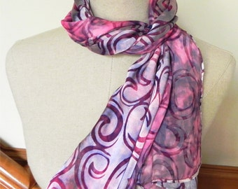 Hand dyed silk scarf in burgundy purple and magenta is ready to ship Long Devore satin silk scarf #511