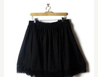 ON SALE Vintage Black fringed Mini Flare skirt from 1980's/Minimal