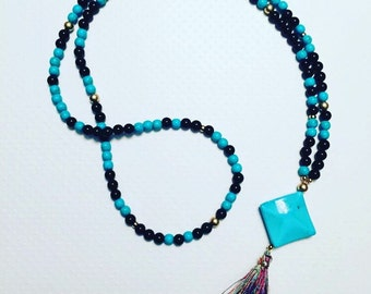 Long necklace. Handmade jewelry. Boho jewelry. Turquoise, Gold and Black Beaded Necklace with Multi-Colored Tassel. Unique necklace.