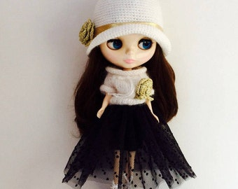 Clothes for Blythe doll: Hat with rose crochet, Blouse knit with rose, Skirt tulle, Skirt angora, Shoes , Blythe fashion, Ready for shipping