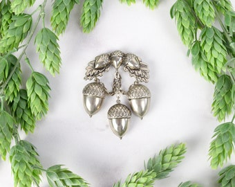 1940s Novelty Acorn and Oak Leaves Brooch Silver Toned