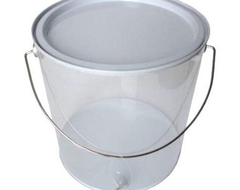 Set of Six (6) Clear Paint Cans With White Lids, Paint Pails, Buckets, Favors, Painting Party Favors, Goody Bags, Goodie Bags, Personalize