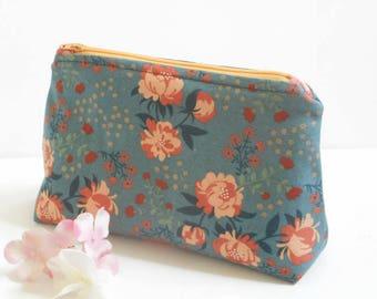 Peonies in Blue Cosmetic Bag/Organic Canvas Zipper Bag/Toiletry Bag Women/Makeup Bag/Canvas Zipper Bag/Zipper Pouch/Travel Bag
