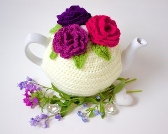 Crochet Rose Tea Cozy. Triple Rose Tea Pot Cosy. Pink Rose Tea Pot Warmer.