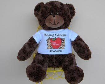 """16"""" Personalized Beary Special Teacher Teddy Bear - 5 Bear Colors Available"""