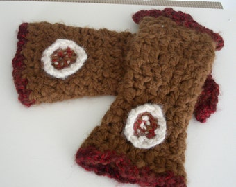 100% baby ALPACA handspun  crocheted FINGERLESS GLOVES, Brown  Wrist Warmers, thick white red Flower Warm and cozy- OoAK-