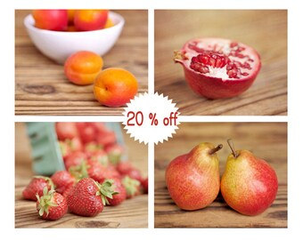 Fruit wall art kitchen pictures, colorful photography fruit print set of 4 8x10, red yellow pear strawberry apricot, kitchen art print decor