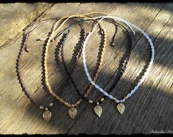 Makrame chain/tiara with brass pendant