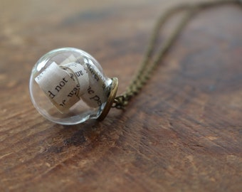 Wuthering Heights literary style   glass bauble sphere necklace