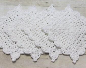 Washcloth, Dishcloth, White Cotton, Cotton Crochet, Crochet Dishcloth, Handmade Crochet, Kitchen Crochet, Wedding Gift, Housewarming Gift