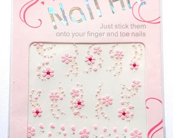Stickers - stickers 3D nail - polish T5 pink flowers