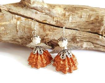 Angel bottle coffee copper earrings