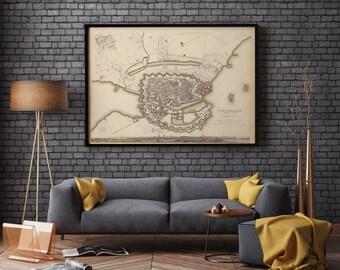 Copenhagen Old Map| Denmark Old Map| Copenhagen City Map| Old Maps| Copenhagen City Plan| Old Map Wall Decor| Denmark Map| Wall Maps| AMC247