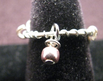Dangle Rose Glass Bead Adjustable Ring