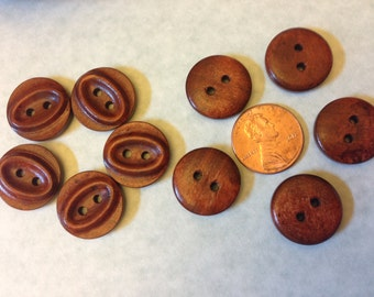 Reddish brown wood buttons - sew through matching round buttons with oval pattern, 30 pcs, 18 mm, A019