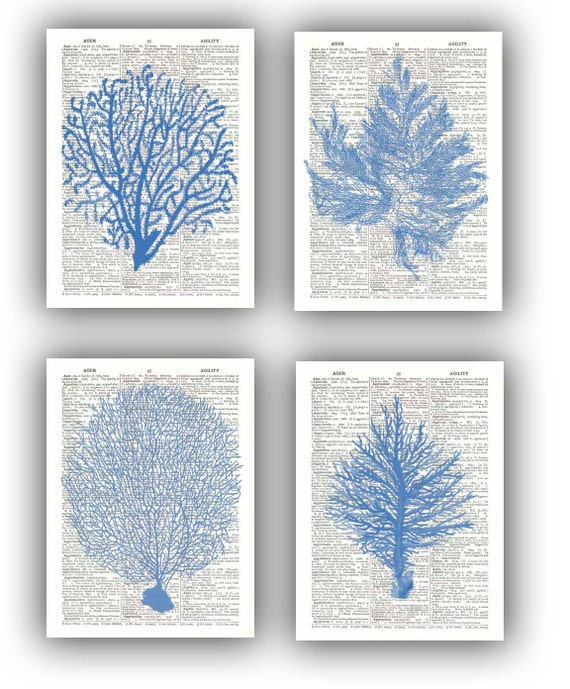 Promotional Listing, Do Not Buy   Seafan Ocean Blue Prints, Sea Fan, Sea  Grass, Coral, Nautical Dictionary Prints, Bathroom Wall Decor