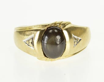 10k Oval Black Star Sapphire Diamond Accented Ring Gold