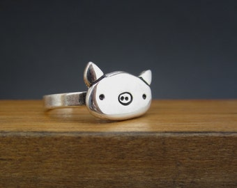 Sterling Silver Pig Ring - Silver Pig Head Ring
