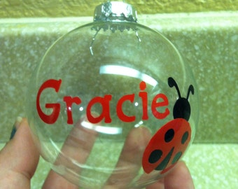 Personalized Lady Bug Name Ornament