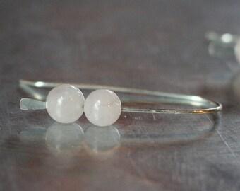 Rose Quartz Hammered Silver Earrings