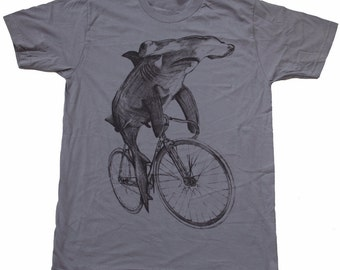 Hammerhead on a Bike- Mens T Shirt, Unisex Tee, Cotton Tee, Handmade graphic tee, Bicycle shirt, Bike Tee, sizes xs-xxl