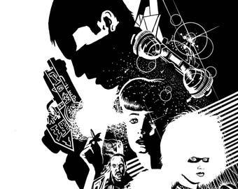 Blade Runner Black & White Screen Print -