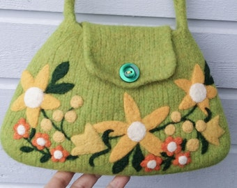 Felted bag purse pouch olive green wool hand knit needle colorful felted flowers