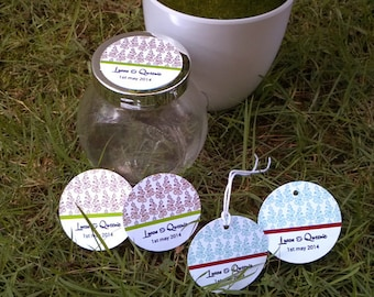 Round Leave Pattern Gift / Favor / Thank you Tag. Personalized colors and text. Set of 40