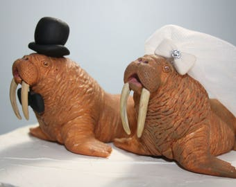 Large Walrus Wedding Cake Topper; Animal Cake Topper; Bride and Groom; Cute; Unique; Custom; Personalized; Mr and Mrs; Wedding Cake Decor
