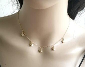 Star Necklace, Gold Star Necklace, Tiny Star Necklace, Gold Fill Star Choker Necklace, Multi Star Necklace, Dainty Star Necklace, Star Gift