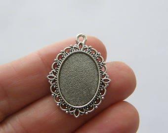 Frame pendant etsy 8 cabochon frame pendants antique silver tone fs161 aloadofball Choice Image