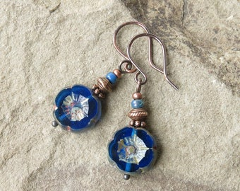 Blue flower earrings - gardener gift Picasso Czech glass & antiqued copper beads