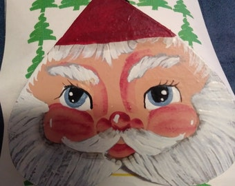 Santa fave Christmas pin handpainted