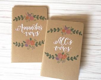 wedding vow books floral / his & hers / unique gift / anniversary present / wedding keepsake / custom set of 2 kraft moleskine journals.