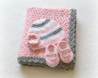 Crochet Baby Blanket Shell Stroller/Carseat/Travel Blanket, Beanie, and Mary Janes Set - Heather Grey, Soft Pink, White - MADE TO ORDER