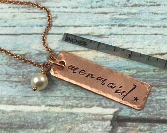 Mermaid Necklace, Mixed Metals Summer Necklace, Mermaid and Pearl Necklace, Mermaid Jewelry, Fantasy Jewelry, Ocean Jewelry, Beach Jewelry