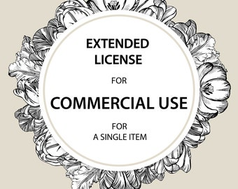 EXTENDED LICENSE for Commercial Use of a Single product, No Credit required