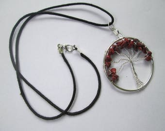 WholesaleGemShop - 1 (One) Piece of Red Jasper Tree of Life Pendant With Black Cord with Free Shipping
