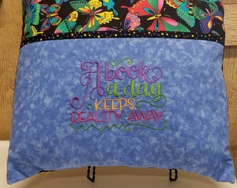 Embroidered  Butterfly Reading Pillow