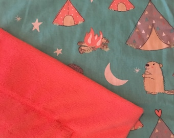 Teepee, Bear, and Beaver Blanket
