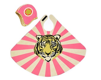 Pink Tiger Cape and Hat Set - Pink Bomber Hat - Super Girl - Super Hero Cape - Champion Costume - Kids Birthday Gift - Kids Costume Play