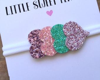 Glitter Headband, Glitter Heart Headband, Baby Headband, Sparkle Headband