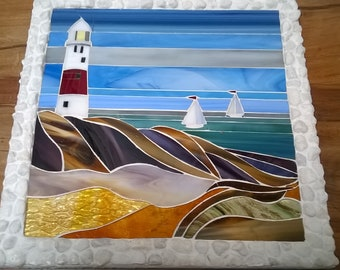 Glass and fused glass Lighthouse on Rocks Mosaic with Pebble frame
