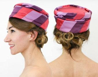 60s Satin Striped Pillbox Hat | Lavender Purple Fuchsia Satin | Herzfeld's Kansas City