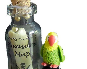 Secret miniature treasure map with parrot and pirate hat!