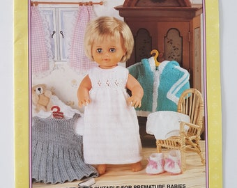 """Knitting Pattern Booklet for Doll and Preemie Clothes - For 12 to 22"""" Dolls and Babies - Sirdar 268 """"Doll's Wardrobe part 2"""" - 13 Designs"""