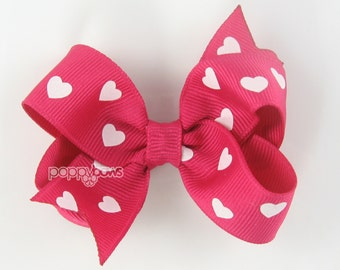 """Valentines Hair Bow, heart hair bow, bright pink hearts girls hair bow, 3"""" 3 inch hair bow, baby hair bow, valentines day cute b3-shk-hrt"""