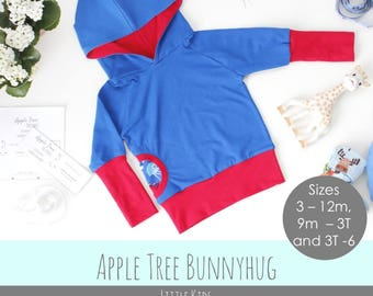 Apple Tree Bunnyhug Grow With Me Hoodie *PDF Pattern* Sizes 3m - 6T Grow with me Bunny Hug Shirt Sewing Pattern - Little Kids Sizes